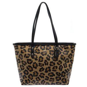 Large leopard print Coach Tote